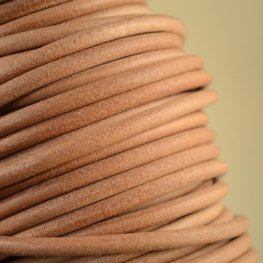 Stringing - 5mm Round Leather Cord - Natural (Inch)