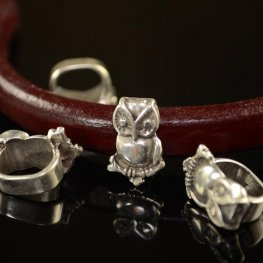 Beads - Regaliz - Owl on a Branch - Antiqued Silver