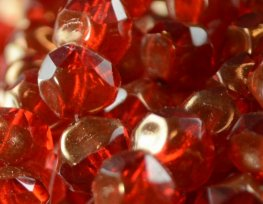 Firepolish Beads Central Cut 9mm - Siam Ruby Bronze Lustre (25)
