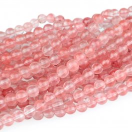 Stone Beads - 4mm Round - Cherry Quartz (strand)