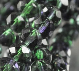Firepolish - 8x6mm Faceted Donut - Emerald Amethyst (strand 25)