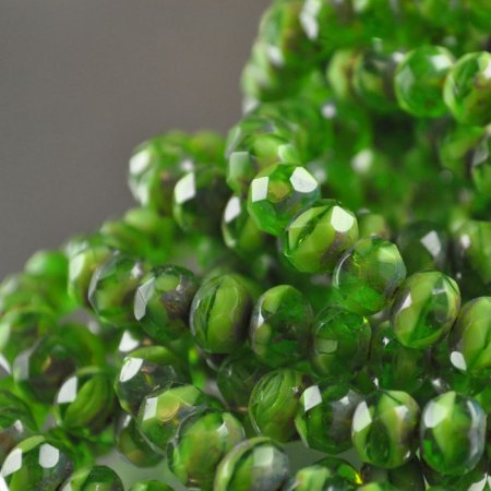 Firepolish - 8x6mm Faceted Donut - High Times (strand 25)