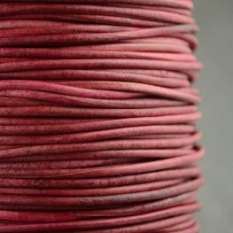 Stringing - 1.5mm Leather Cord - Natural Dye - Raspberry (1 Metre)