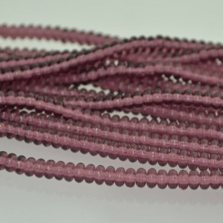 Glass Beads - 4mm Tire Rondelles - Amethyst (Strand 100)