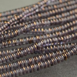 Glass Beads - 4mm Tire Rondelles - Crystal Purple Gold Lustre (Strand 100)
