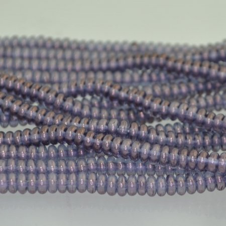 Glass Beads - 4mm Tire Rondelles - Crystal Amethyst Gold Lustre (Strand 100)