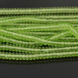 Glass Beads - 4mm Tire Rondelles - Pale Peridot (Strand 100)