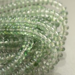 Glass Beads - 4mm Tire Rondelles - Crystal Green (Strand 100)