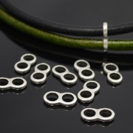 Beads - 5mm Round Leather - Figure 8 Connector - Antiqued Silver