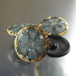 Czech Glass Button - 40mm 6-Wedge Circle - Sage Gold