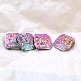 Czech Glass Button - 33mm Fanshell Square - Pink Green Vitrail