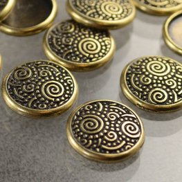 Stamping / Riveting - Spirals Snap Cap - Antiqued Brass
