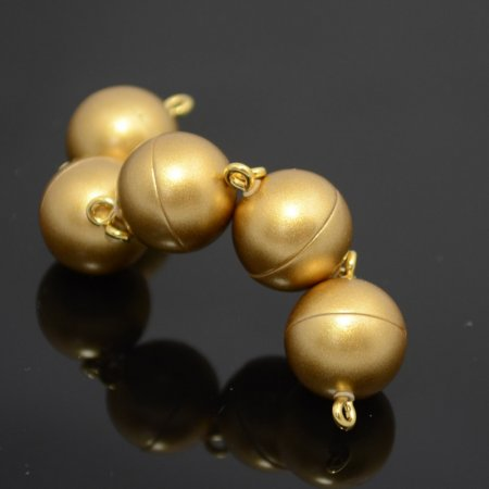 Magnetic Clasp - 12mm Smooth Round Sphere - Matte Gold
