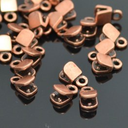Findings - Flat End Crimp for Leather with End Loop - Antiqued Copper