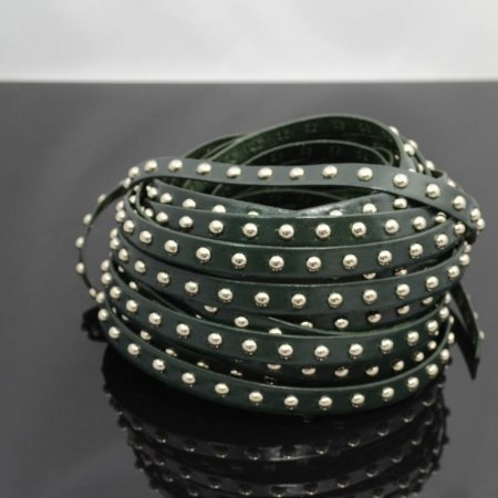 Leather - 10mm Studded Flat Leather - Silver / Dark Green (Inch) Manager Special