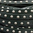 Leather - 10mm Studded Flat Leather - Silver / Dark Green (Inch)