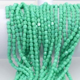 Firepolish - 4mm Faceted Windows - Turquoise Green (strand 50)