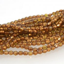 Firepolish - 6mm TwoWay Cut - Amber Gold Lustre (strand 25)