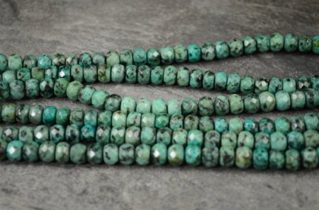 Stone Beads - 8mm Faceted Rondelles - African Turquoise (strand)