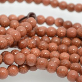 Stone Beads - 8mm Round (2mm Hole) - Goldstone