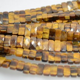Stone Beads - 10x5mm Faceted Double Drilled Rectangle - Tiger Eye