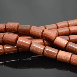 Stone Beads - 10x14mm Barrel Tube (2mm Hole) - Goldstone