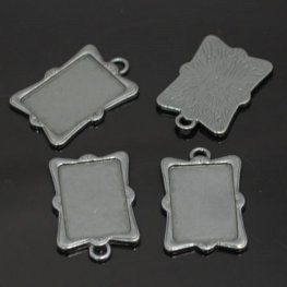 Metal Pendant - 18x27mm Rectangle Picture Frame Pendant - Gunmetal