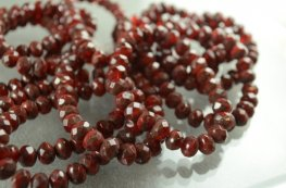 Firepolish - 9x6mm Faceted Donut - Cherry Cherry Blossom (strand 25)