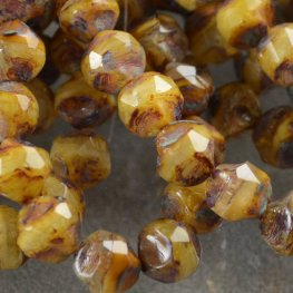 Firepolish Beads Central Cut 9mm - Maple Walnut (15)