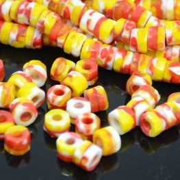 Firepolish - 8x6mm Tri-Cut Roller Beads - Venetian Sunrise (strand 25)