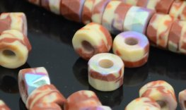 Firepolish - 8x6mm Tri-Cut Roller Beads - Matte Hazel Cream AB (strand 25)