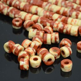 Firepolish - 8x6mm Tri-Cut Roller Beads - Hazel Cream (strand 25)