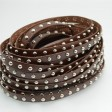 Leather - 10mm Medium Studs - Flat Leather - Silver / Brown (Inch)