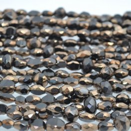 Firepolish - Faceted Mix - Jet Bronze (strand)