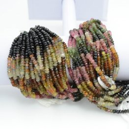 Stone Beads - 4mm Faceted Rondelles - Tourmaline - Multicolour Mix (strand)