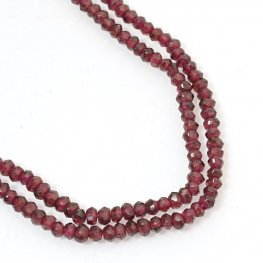 Stone Beads - 4mm Faceted Rondelle Donuts - Garnet (strand)