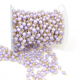Gemstone Chain - 4mm Round on Wire Link - Light Purple Glass Pearl / Gold Plated (foot)