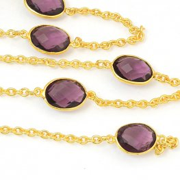 Gemstone Chain - Mounted Faceted Stone - Burgundy Hydro Quartz / Gold Plated (foot)