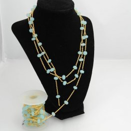 Gemstone Chain - 9mm Faceted Rondelle on Twisted Link with Chain - Green Chrysoprase / Silver (foot)