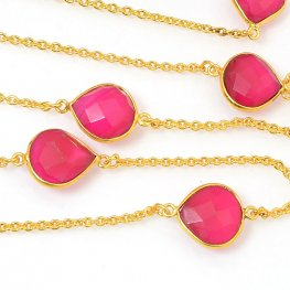 Gemstone Chain - Mounted Faceted Stone - Pink Tourmaline / Gold Plated (foot)