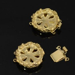 Box Clasp Rotunda - Add Cabochon - Goldplated