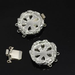 Box Clasp Rotunda - Add Cabochon - Rhodium Plated