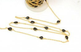 Gemstone Chain - Mounted Faceted Stone - Black Onyx / Gold Plated (foot)