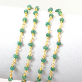 Gemstone Chain - 3mm Faceted Rondelle on Wire Link - Green Onyx / Gold Plated (foot)