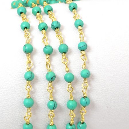 Gemstone Chain - 3mm Round on Wire Link - Green Turquoise (Imitation) / Gold Plated (foot)