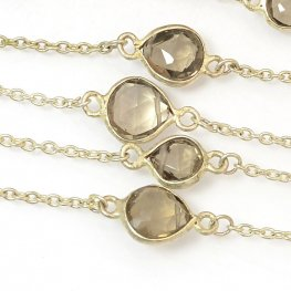 Gemstone Chain - Mounted Faceted Stone - Smokey Quartz / Silver (foot)