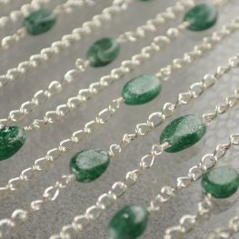 Gemstone Chain - 6x8mm Oval Tablet on Curb Chain - Aventurine (foot)