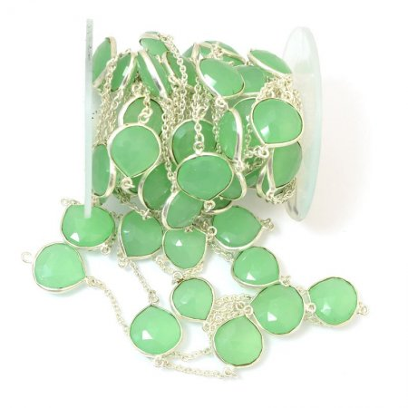 Gemstone Chain - Mounted Faceted Stone - Nile Green Chalcedony / Silver (foot)