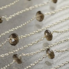 Gemstone Chain - 7mm Faceted Rondelle Donuts - Smokey Quartz (foot)