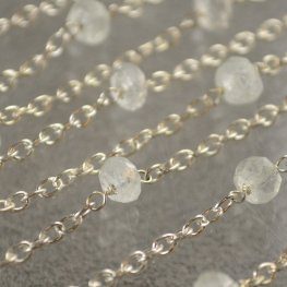Gemstone Chain - 7x4mm Faceted Rondelle Donuts - Rocky Crystal Quartz (foot)